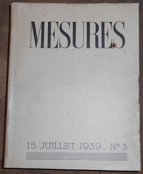 John Cotton Books: Mesures 15 Juillet 1939 N°3 Par R. P. Du Poisin, Cotton