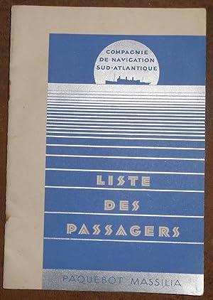 Paquebot Massilia – liste des passagers