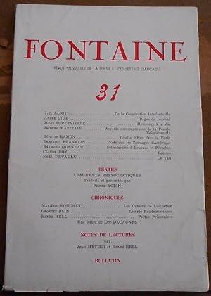 Fontaine n°31 Revue Mensuelle de la Poésie: T. S. Eliot,