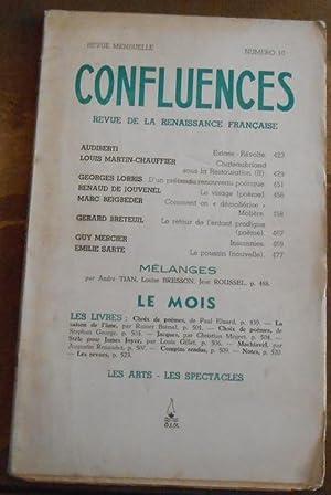 Confluences n°10 Revue de la Renaissance Française: Audiberti, Louis Martin-Chauffier,