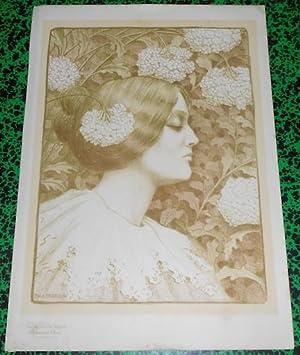 Affiche Paul-Berthon Femme aux Fleurs Les Maîtres: Paul-Berthon