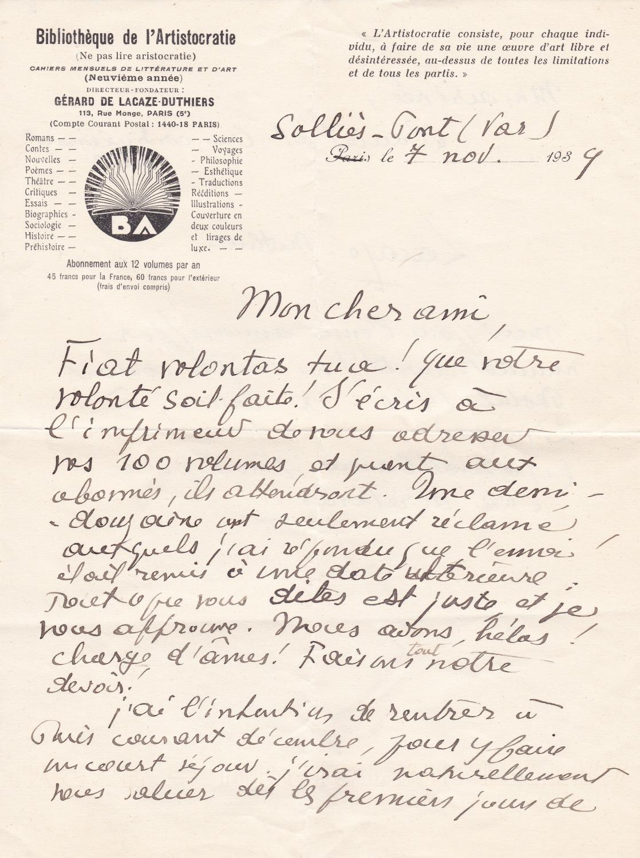 Lettre_autographe_signée_Gérard_de_LacazeDuthiers_18761958_écrivain_libertaire_anarchiste_individualiste_Bon_Couverture_rigide