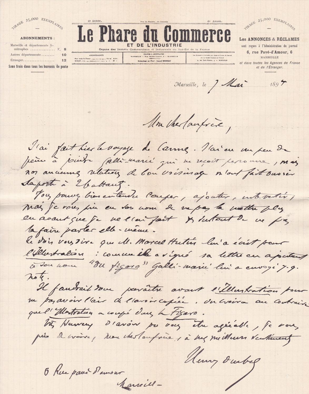 Lettre Autographe Signée De Henri Durbec Journaliste