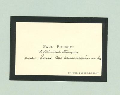 Sa Carte De Visite Avec La Mention Manuscrite Tous Mes Remerciements Paul Bourget