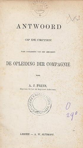 """Antwoord op de critiek naar aanleiding van het geschrift """"De Opleiding der Compagnie"""".: ..."""
