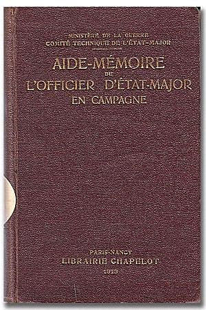 Aide-mémoire de l'officier d'État-Major en campagne.