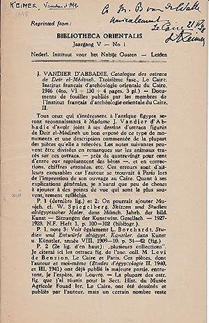 J. Vandier d'Abbadie: Catalogue des ostraca de: Keimer, Ludwig (Louis)