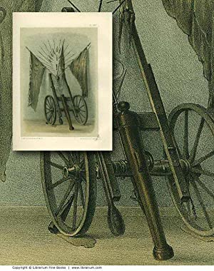 ARTILLERY] Antique Bronze Cannons and Mortars. ORIGINAL 19th CENTURY TINTED LITHOGRAPH PRINT.