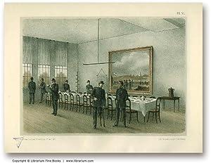 VETERAN SOLDIERS: Original 19th Century Tinted Lithograph Print.