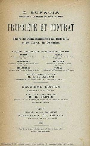 Propriété et contrat. Théorie des Modes d'acquisition des droits r&eacute...