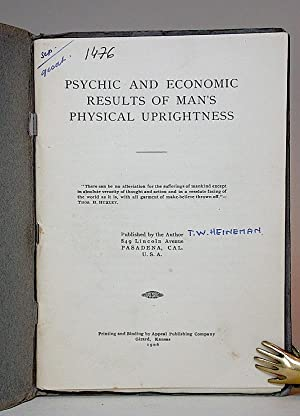 Psychic and Economic Results of Man's Physical Uprightness. I. Natural Selection of Human ...