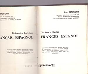 DICCIONARIO TECNICO FRANCES-ESPAÑOL (maquinas herramientas, minas, motores de combustion ...