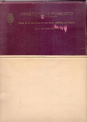 MAPA DE LA SITUACION DE LAS OBRAS PUBLICAS EN ESPAÑA EN 1 DE ENERO DE 1913 - DESPLEGADO DE ...
