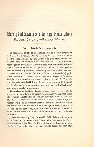 IGLESIA Y REAL CONVENTO DE LA SANTISIMA TRINIDAD CALZADA - REDENCION DE CAUTIVOS EN ROMA-: Alfonso ...