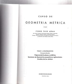 CURSO DE GEOMETRIA METRICA - TOMO II,: Pedro Puig Adam