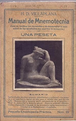 MANUAL DE MNEMOTECNIA (ARTE DE FACILITAR LOS: H. D. Villaplana