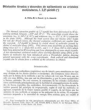 DILATACION TERMICA Y DESORDEN DE APILAMIENTO EN CRISTALES MONOCULARES. I 2,2 -PIRIDIL (*): A. Felix...