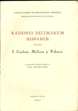 RATIONES DECIMARUM HISPANIAE, (1279-80), I, CATALUÑA, MALLORCA: Mons. Jose Rius
