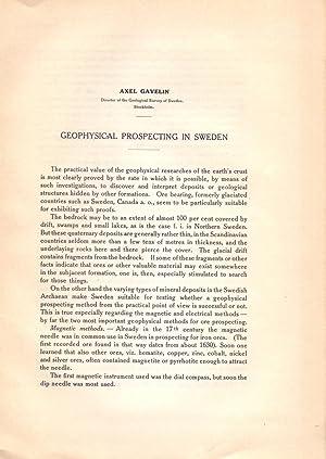 GEOPHYSICAL PROSPECTING IN SWEDEN (8 PAGINAS ORIGINALES: Axel Gavelin (Geological