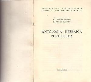 ANTOLOGIA HEBRAICA POSTBIBLICA: F. Cantera Burgos