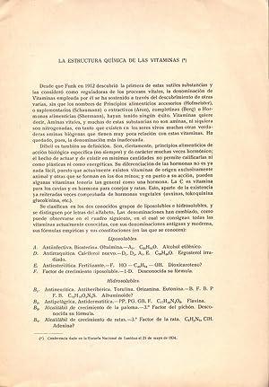 LA ESTRUCTURA QUIMICA DE LAS VITAMINAS: Doctor Jose Giral