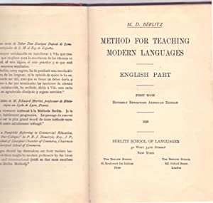 METHOD FOR TEACHING MODERN LANGUAGES - ENGLISH: M. D. Berlitz