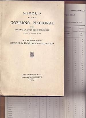 MEMORIA ELEVADA AL GOBIERNO NACIONAL EN LA: Ildefonso Alamillo Salgado