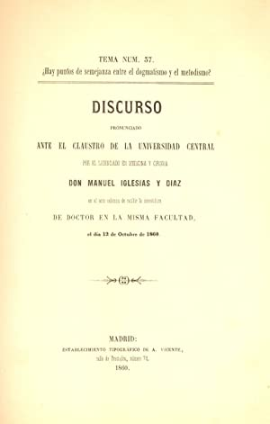 DISCURSO SOBRE LOS ORIGENES DE LA MEDICINA,: Manuel Iglesias y