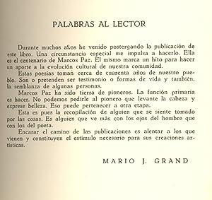 SALDOS DE TIEMPO DE UN ALMACENERO (1878-CENTENARIO DE MARCO PAZ-1978): Mario J. Grand