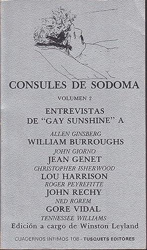 CONSULES DE SODOMA (Volumen 2) Entrevistas de Gay Sunshine - Cuadernos Infimos 108 1ªEDICION: ...