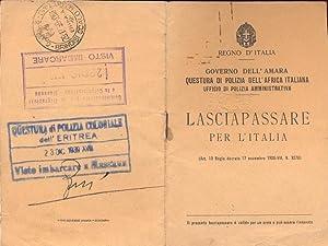 Lasciapassare per l'Italia. Governo dell'Amara,Questura di Polizia: ANONIMO.