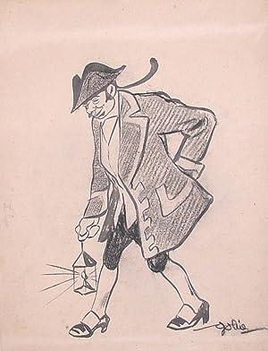 Caricatura di uomo in costume settecentesco.: GOLIA. (PITTORE, XILOGRAFO, ILLUSTRATORE).