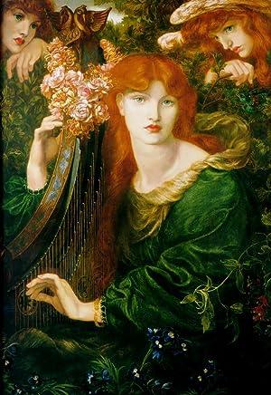 Postal del cuadro The Garland: Dante Gabriel Rossetti