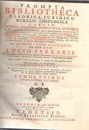 Prompta bibliotheca canonica, juridico, moralis theologica partim: Ferraris, Lucio