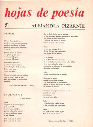 HOJAS DE POESIA. Nº 21: PIZARNIK, Alejandra