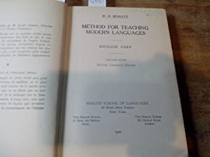 Method for Teaching Modern Languages. English Part.: Berlitz, M. D.