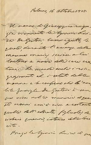Lettera autografa firmata, su due facciate, datata: PITRE' Giuseppe. [Folclorista