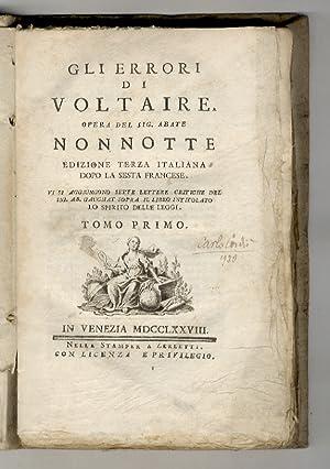 Gli errori di Voltaire. Edizione terza italiana,: Nonnotte C.F.
