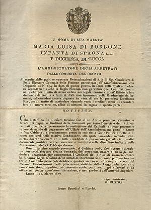 """In nome di sua Maestà Maria Luisa: Notificazione""""."""