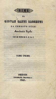 Rime di Giovan Santi Saccenti da Cerreto: Santi Saccenti G.