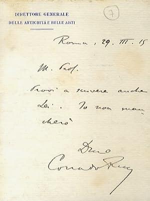 Lettera manoscritta autografa, su una facciata (foglio: Ricci Corrado [archeologo