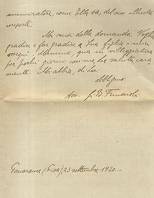 Lettera manoscritta autografa, firmata, stesa su una: FUNAIOLI Giovanni Battista