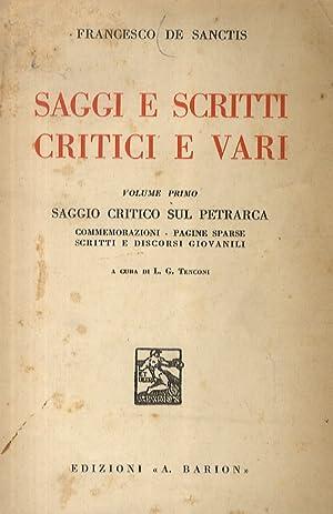 Saggi e scritti critici e vari. (I: De Sanctis Francesco.
