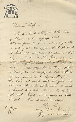 Lettera manoscritta autografa, firmata, stesa su una: CERESANI Cesare, monsignor,