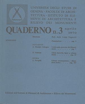 Quaderno n. 3. Aprile 1970. Direttore: Prof.: UNIVERSITA' DEGLI STUDI