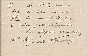 Lettera manoscritta autografa, firmata, stesa su due: ANTONA TRAVERSI Camillo