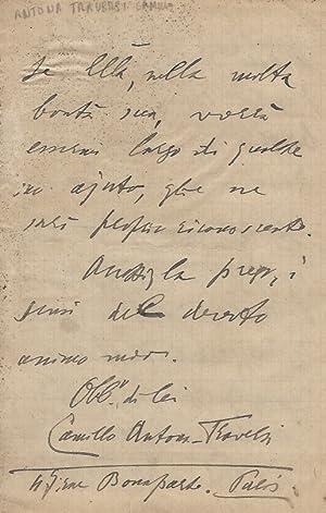 Lettera manoscritta autografa, firmata, stesa su otto: ANTONA TRAVERSI Camillo