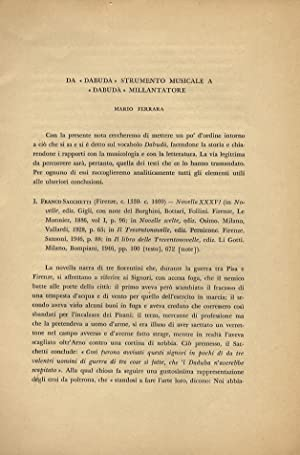 "Da ""Dabudà"" strumento musicale a ""Dabudà"" millantatore.: Ferrara Mario."