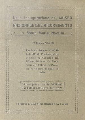 Nella inaugurazione del Museo Nazionale del Risorgimento: Del Lungo I.