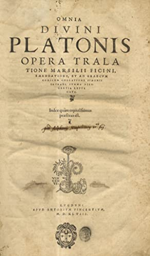 Omnia divini Platonis opera tralatione Marsilii Ficini,: PLATONE.